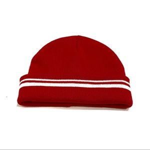 Brandy Melville Red & White Striped Knit Beanie